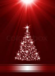 christmas tree made of stars against red background with place for
