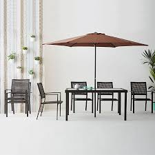 6 seater outdoor dining table barcelona 6 seater outdoor dining set with 2 7m parasol robert dyas