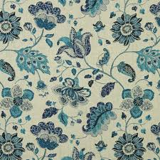navy blue grey floral linen upholstery fabric modern blue
