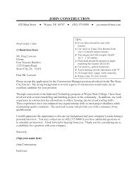 construction management cover letter construction labor cover