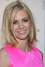 photos medium length flip hairstyles january jones medium length blonde hairstyle with a flip at the ends