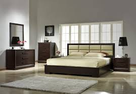 furniture oriental bedroom style with plain wooden headboard on