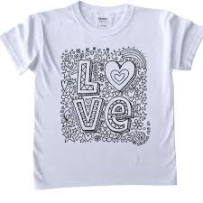 shirts kids colour printed outline kids craft love