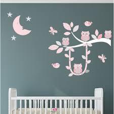 Owl Nursery Wall Decals by Swinging Owl Branch Pink U0026 Grey Nursery