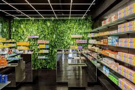 living walls of medicinal plants in paris pharmacy