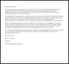 english teacher recommendation letter livecareer