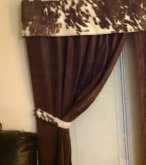 Chocolate Curtains With Valance Beautiful Hair On Cowhide Curtain Valance With By Customcowhide