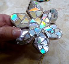 make it easy crafts recycled cd snowflake ornament projects