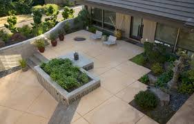 Concrete Patio Designs Stained And Scored Concrete Patio Ideas With Aggregate Steps