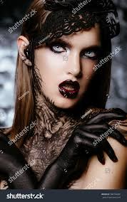 beautiful long dark hair black stock photo 500763286