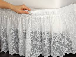 White Bed Skirt Queen White Lace Bedskirt Dust Ruffle Easy On Elastic Queen Or King Wrap