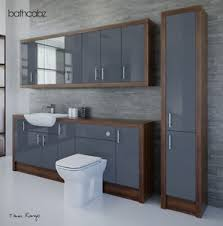 Bathroom Fitted Furniture Anthracite Olivewood Bathroom Fitted Furniture 2200mm With Wall