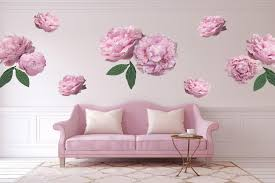the zero print wall decals peonies pink large