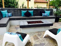 custom cushions for built in concrete bench contemporary patio