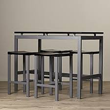 home bar table set amazon com pub table set 5 piece counter height dining furniture
