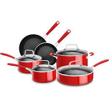 kitchenaid aluminum nonstick 10 piece empire red cookware set with