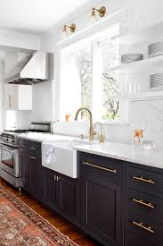 Kitchen Cabinets Black And White Black And White Kitchen White Kitchen Cabinets With Brass Hardware