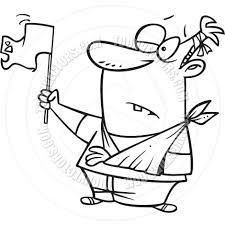 Waving Flag Artist Cartoon Man Waving A White Flag In Surrender Black And White Line