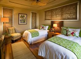 refreshing green accents tropical bedroom with guest bedroom