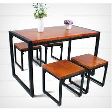 wood and wrought iron table country retro dinette combination of solid wood dining table antique