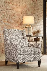 Printed Accent Chair Ashley 8250021 Pierin Dove Tone Printed Fabric Upholstery Accent Chair