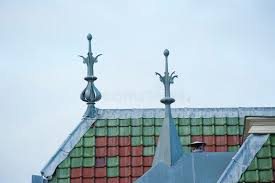 roof top with ornaments and green brown tiles stock photo image of