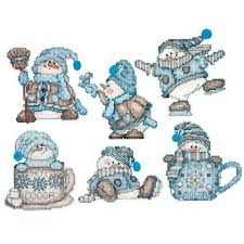 design works cocoa snowmen ornaments counted cross stitch