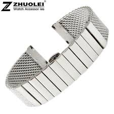 black strap bracelet images Watch strap 20mm 22mm stainless steel shark mesh bracelet diving jpg