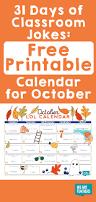 free printable october calendar of classroom jokes