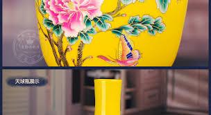Flower Vase Decoration Home 220 Jingdezhen Ceramics Yellow Gold Peony Flower Vase Decoration
