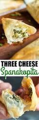 three cheese spanakopita triangles culinary hill