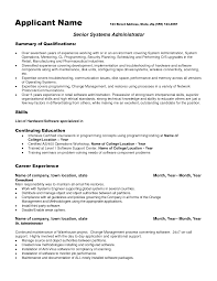 Resume Samples Summary Of Qualifications by Resume Format For System Engineer Resume For Your Job Application