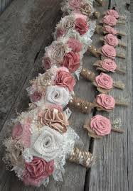 shabby chic blush pink and champagne silk with ivory burlap