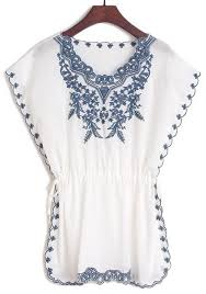 embroidered blouses white floral embroidery bat sleeve cotton blouse floral