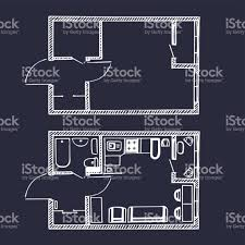 vector small apartments floor plan in sketch style rooms top view vector small apartments floor plan in sketch style rooms top view with and without furniture
