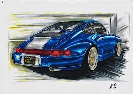 porsche 917 art my artwork porsche 964 arrow blue porsche