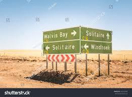 multiple road sign namibia walvis bay stock photo 236753545