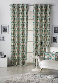 geometrical hexagon teal walnut lined eyelet curtains