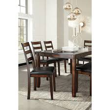 burnished brown 6 piece dining table set with bench by signature