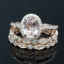 gold oval engagement rings bridal ring set of 14k gold 8x6mm morganite oval engagement