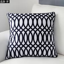 Black Patterned Cushions | cushion cover pillow case black white geometric set classical print