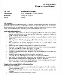 housekeeper job description example 14 free word pdf documents