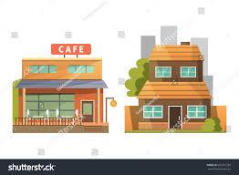 flat design retro modern city houses stock vector 609761339