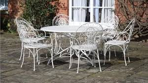 outdoor iron table and chairs vintage cream wrought iron metal garden patio dining furniture table
