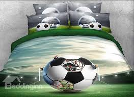 Soccer Comforter Onlwe 3d Soccer Ball In Front Of Goal Printed 4 Piece Bedding Sets