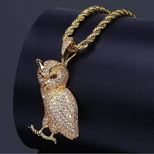 gold owl pendant necklace images 2018 gold silver color plated iced out micro pave cz stone animal jpg