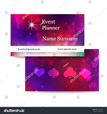 Event Business Cards Template Bright Business Cards Event Planner Stock Vector