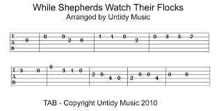 while shepherds watch their flocks for guitar untidy music