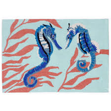 Aqua Outdoor Rug Seahorse Aqua Indoor Outdoor Rug
