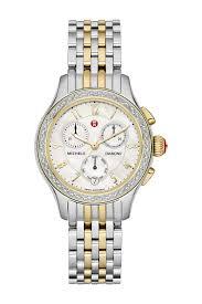 womens diamond bracelet watches images Michele women 39 s jetway two tone diamond bracelet watch 36mm jpg